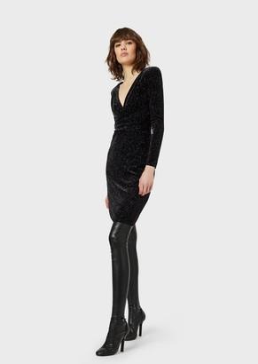 Emporio Armani Chenille Dress With Multi-Coloured Glitter Print