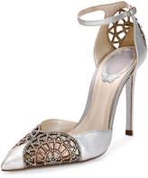 Rene Caovilla Crystal Snakeskin d'Orsay 105mm Pump, Silver/Rose Gold