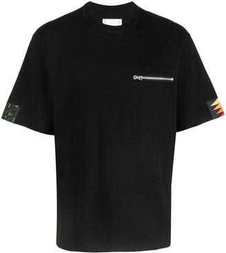 Sacai chest zip cotton T-shirt