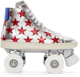 Saint Laurent Silver Court Classic Roller High-Top Sneakers