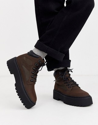 ASOS DESIGN lace up boot in brown faux leather with chunky sole