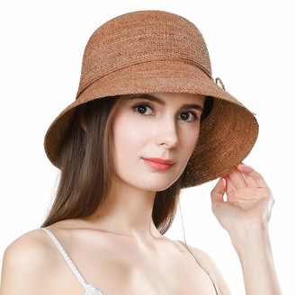 Jeff & Aimy Womens Packable Floppy 100% Raffia Straw Beach Sun Hat Floppy with UV Protection Wide Brim Neck Cord Foldable Panama Fedora Travel Sunhat UPF 50 Orange 55-58CM