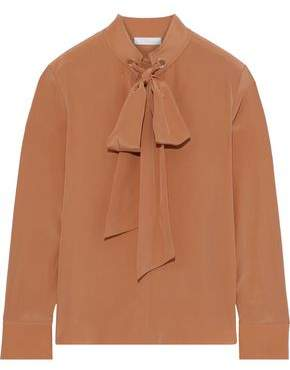 Chloé Pussy-bow Eyelet-embellished Silk Crepe De Chine Blouse