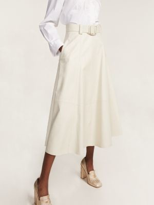 Tommy Hilfiger Leather Belted Midi Skirt