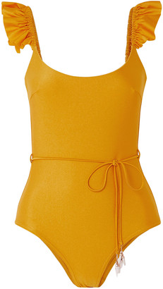 Zimmermann Bonita Frill Belted Ruffle-trimmed Swimsuit
