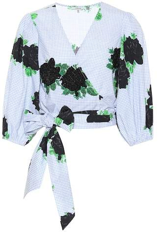 Ganni Pine floral and sequin wrap blouse