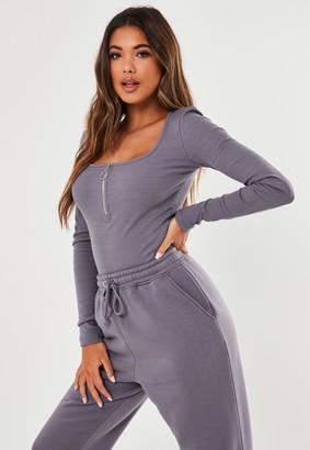 Missguided Tall Purple Rib Zip Front Bodysuit