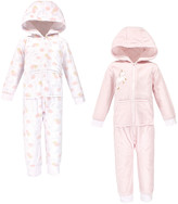 Yoga Sprout Girls' Rompers Unicorn - Light Pink & White Stripe Fleece Hooded Zip Playsuit - Set of Two