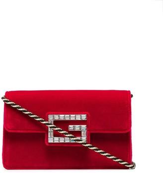 Gucci red Broadway velvet crystal G shoulder bag
