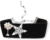 Marc Jacobs Velvet, Swarovski Crystal And Faux Pearl Choker - Black