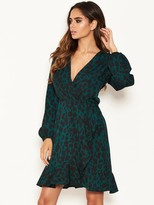 AX Paris Petite Green Leopard Print Wrap Dress