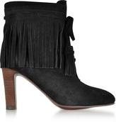 See by Chloe Black Suede Fringed High Heels Booties