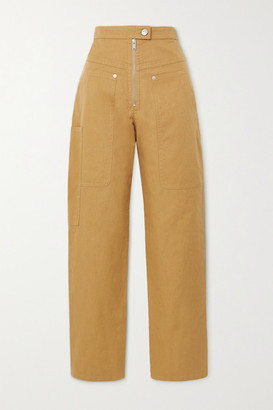 Etoile Isabel Marant Phil Cotton And Linen-blend Tapered Pants - Camel