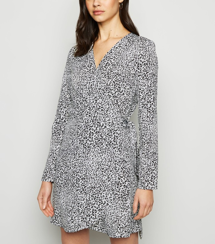 New Look Madam Rage Leopard Print Mini Wrap Dress