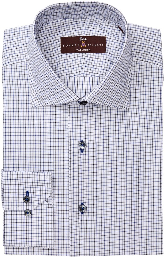 Robert Talbott Tailored Fit Windowpane Dress Shirt
