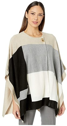 Calvin Klein Poncho Color-Block (Heather Latte/Black) Women's Sweater