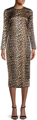 Ganni Leopard-Print Silk-Blend Midi Dress