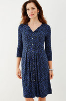 J. Jill Pleated Floral Knit Shirtdress