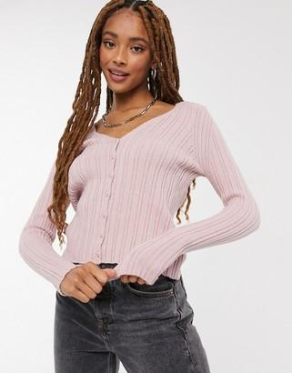 Pimkie crop ribbed cardigan in pink