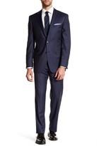 Ike Behar Navy Windowpane Two Button Notch Lapel Wool Suit