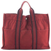 Hermes Red Canvas Silver Tone Fourre Tout MM Tote Handbag BY4523 MHL