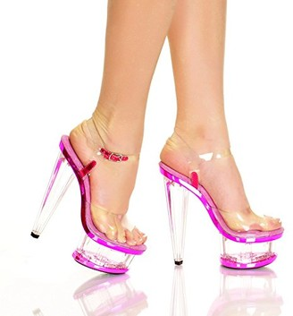 "The Highest Heel womens Spectrum Series 21 6"" Prism Heel With Clear Vinyl Upper and Ankle Strap Sandal Platform"