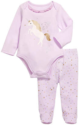 First Impressions Baby Girls 2-Pc. Cotton Unicorn Bodysuit & Footed Pants Set