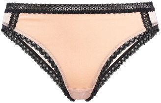 Stella McCartney Ally Indulging Lace-trimmed Point D'esprit And Stretch-velvet Mid-rise Briefs