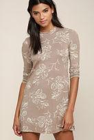 O'Neill Leona Taupe Floral Print Long Sleeve Dress