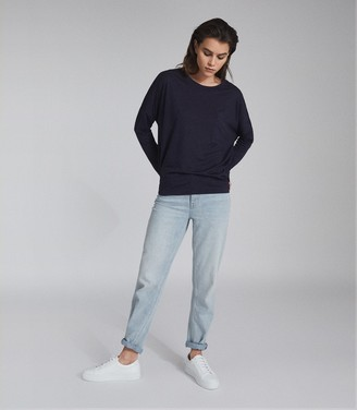 Reiss CORALINE FINE JERSEY LONG SLEEVED T-SHIRT Blue Melange
