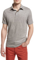 Ermenegildo Zegna Melange Striped Short-Sleeve Polo Shirt, Flax