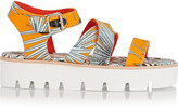 MSGM Leather-trimmed printed canvas sandals