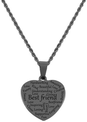 Pink Box Heart Tag Necklace - Best Friend