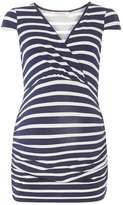 Dorothy Perkins **Maternity Navy and White Stripe Cap sleeve top