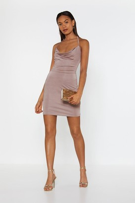 Nasty Gal Womens Hot Stuff Cowl Mini Dress - Mauve
