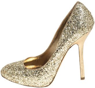Miu Miu Metallic Gold Coarse Glitter Platform Pumps Size 38.5