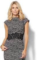 New York & Co. 7th Avenue Design Studio - Lace-Applique Cap-Sleeve Top - Black