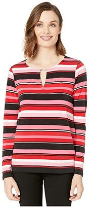 MICHAEL Michael Kors Court Stripe Long Sleeve Top (Camelia Rose) Women's T Shirt