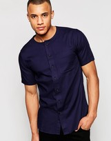 Jack and Jones Short Sleeve Waffle Grandad Shirt In Slim Fit