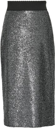 Boutique Moschino Metallic Coated Boucle Pencil Skirt