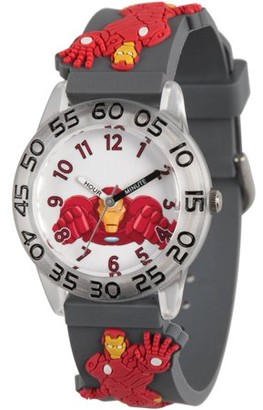 Marvel Avengers: Iron Man Boys' Clear Plastic Time Teacher Watch, Grey 3D Plastic Strap