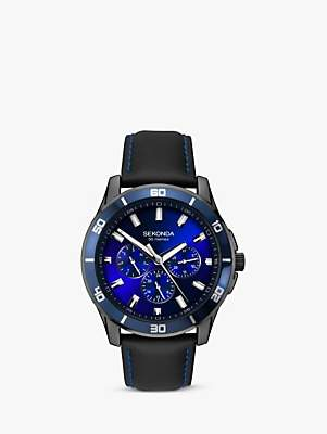 Sekonda 1634.27 Men's Chronograph Leather Strap Watch, Black/Blue