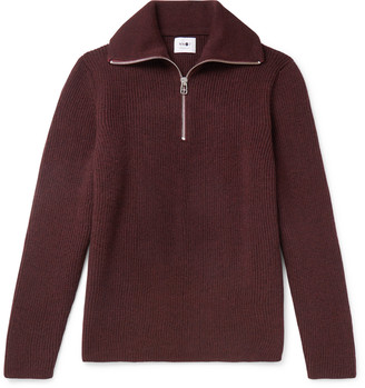 NN07 Holger Ribbed Melange Wool Half-Zip Sweater
