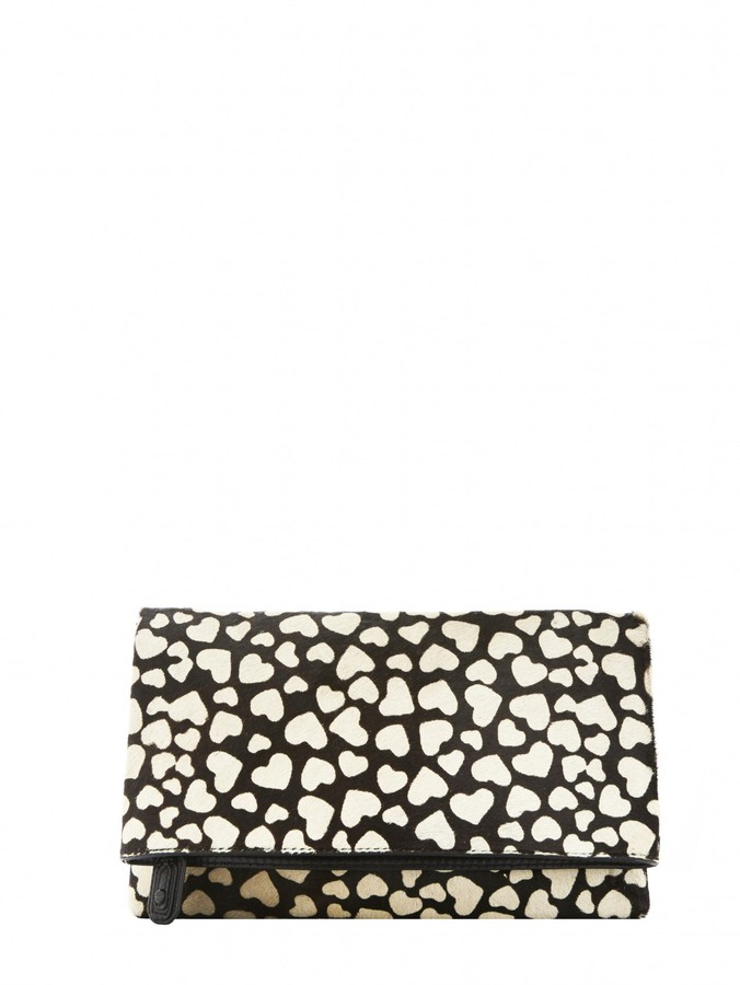 Alice + Olivia Me Heart Print Calf Hair Clutch