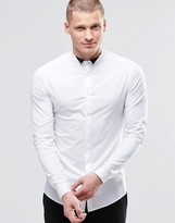 Asos Skinny Shirt In White With Contrast Wing Collar And Long Sleeves