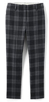 Lands' End Women's Plus Size Mid Rise Slim Leg Pants-Grey Spirit Tartan