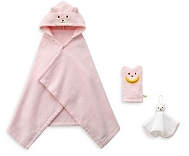 Mikihouse Miki House Bath Time Poncho, Mitten & Wash Towel Cotton Gift Set - Baby