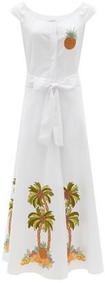 Loretta Caponi Marzia Tree-embroidered Cotton-pique Midi Dress - White Multi