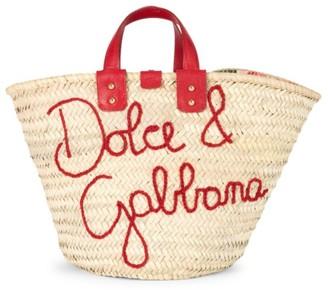 Dolce & Gabbana Raffia Embroidered Tote