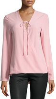 Neiman Marcus Crepe Lace-Up Long-Sleeve Top, Pink